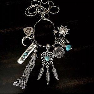 Jewelry - Boho dream catcher hippie tassel charm necklace